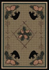 Pine Cone Bears Rug- Rectangle - 8x11 - Green