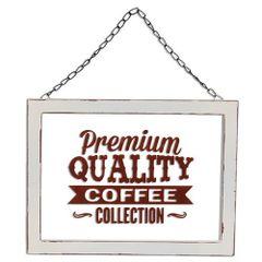 Framed Glass Coffee Sign w/Hanger