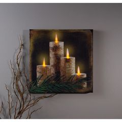 LIGHTED BIRCH CANDLE CANVAS