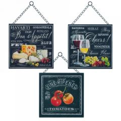 Bon Appetit Hanging Metal Wall Art - Set of 3