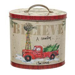 Country Christmas Oval Tin