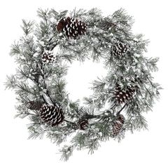 Frosted pine and pinecone wreath