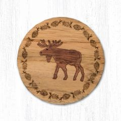 Moose Teak Wood Coaster Set
