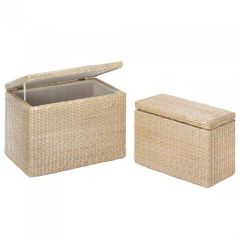 Rush Straw Nesting Storage Trunk Set
