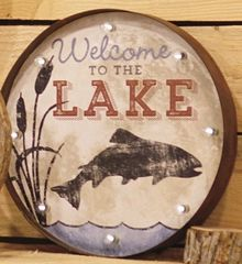 Round Lighted Fish/Lake Sign