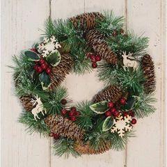 Pinecone & Berry Wreath w/ Wood Cutouts