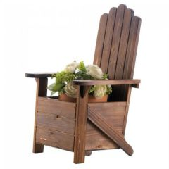 Rustic Wood Adirondack Chair Planter