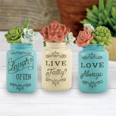 "SET OF 3 ""LIVE/LAUGH/LOVE"" PAINTED JARS WITH SUCCULENTS"