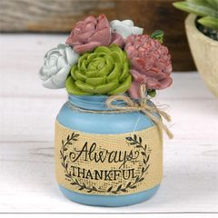 """ALWAYS THANKFUL"" JAR WITH SUCCULENTS"