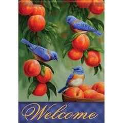 GARDEN FLAG-BLUEBIRDS & PEACHES
