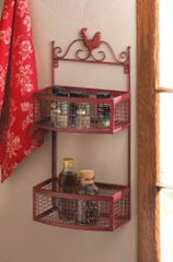 Country Rooster Double Wall Rack