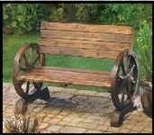 Country Western Wagon Wheel Bench