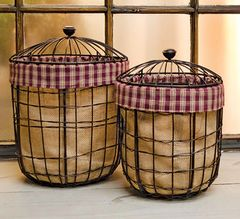 2/Set, Burlap Wire Baskets