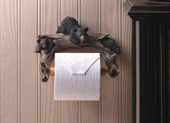 Country Black Bear Toilet Paper Holder