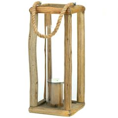Rustic Natural Wood Candle Lantern - 17 inches