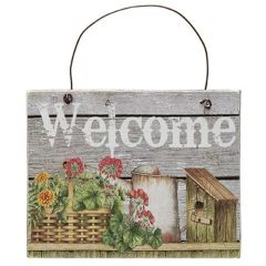 Basket, Flowers Welcome Sign