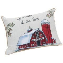 "Fabric ""life is better at the farm"" pillow"