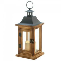 Wood LED Candle Lantern with Classic Metal Top - 12 inches
