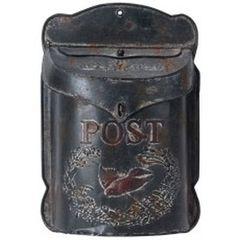 Metal post box antique black