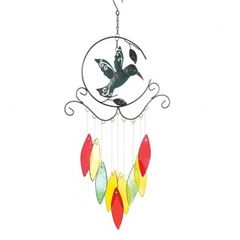Hummingbird with Colorful Glass Wind Chimes