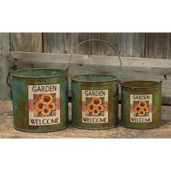 3/Set, Sunflower Metal Buckets