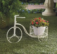 White Country Tricycle Planter