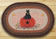 Black Cat Pumpkin 20x30 Oval Rug