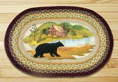 Cabin With Bear Oval 20x30 Rug