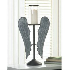 22-inch Angel Wings Metal Candle Holder