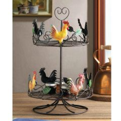 Rooster Two-Tier Countertop Kitchen Rack