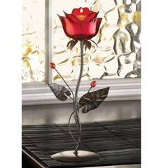 Red Rose Candle Holder