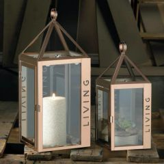 Stainless Steel Rose LIVING Candle Lantern - 14 inches