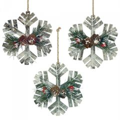 Snowy Snowflakes Wood Ornament Set