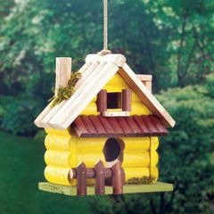 Yellow Log Cabin Wood Bird House