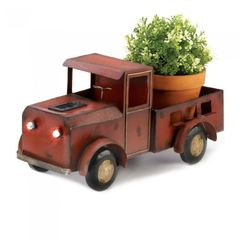 Metal Red Truck Planter with Solar-Powered Headlights