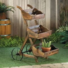 Wooden Three-Tier Plant Cart Stand