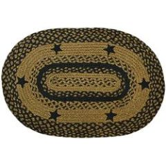 Black Star Oval Rug, 27 x48