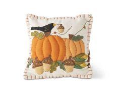 7.5 Inch White Felt Pillow w/Crow Sitting on Pumpkins