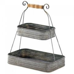 Tin Two-Tier Kitchen Basket