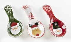 "9"" x 3.8"" Ceramic Christmas Spoon Rest, 3 Asst"