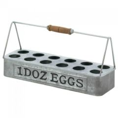 Galvanized Metal Egg Caddy