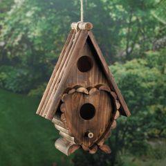 Wood Cottage Heart A-Frame Bird House