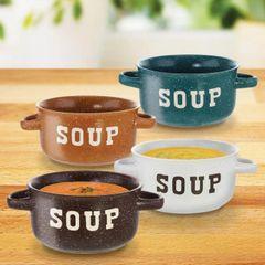 Speckled Ceramic Soup Bowls - Set of 4