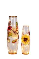 Large Lighted Harvest Crackle Vase