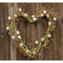 Pink Rosebuds Heart Wreath, Approx 12""