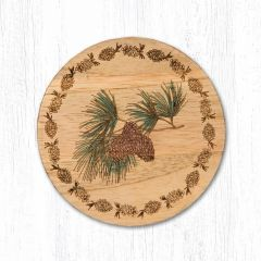Pinecone Teak Wood Coaster Set