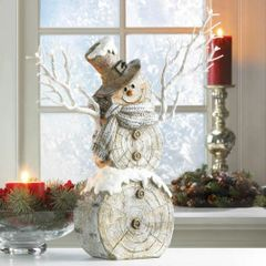 Snowman Christmas Decor with Light-Up Twigs