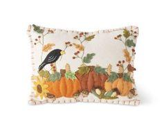 11 Inch Rectangular White Felt Pillow w/Crow and Pumpkins