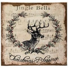 Christmas blessings deer head wall art