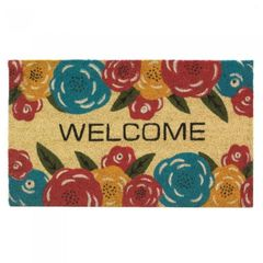 Multi-Color Floral Coir Welcome Mat